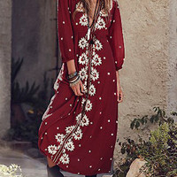 Burgundy V-Neck Embroidered Loose Maxi Dress
