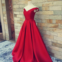Off Shoulder A-Line Red Satin Prom Dresses