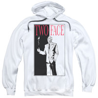 BATMAN/TWO FACE-ADULT PULL-OVER HOODIE-WHITE