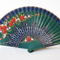 spanish wooden fan, green fan, fan with flowers, vintage fan, drawn fan, woman gift, woman accessory, hand fan, christmas gift,