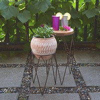 Iron Plant Stand Set with Wood Top