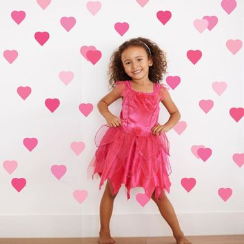 36 Pretty in Pinks Confetti Heart Wall Decals, Peel and Stick Eco-Friendly Reusable Wall Stickers
