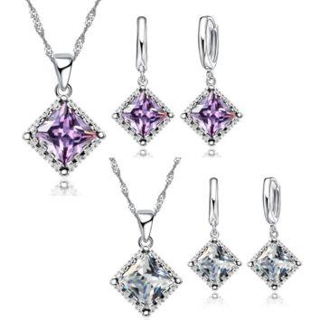 Radiantly Regal Princess Cut Austrian Crystal Necklace & Earrings Set For Woman