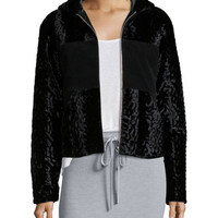 T by Alexander Wang Velvet Faux-Fur Hooded Bomber Jacket, Black