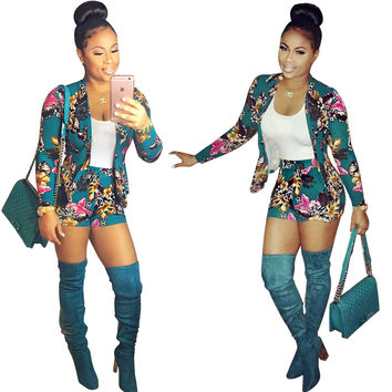 Green African Print Blazer with Shorts