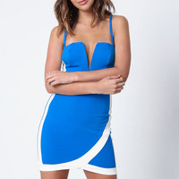 BLUE WRAP SLIT BODYCON DRESS