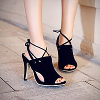 Open Toe High Heels Stiletto Heel Sandals 4706