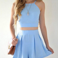 Summer new solid color sexy suspenders plus shorts, women leisure suits