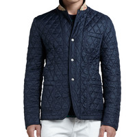 Quilted Sport Jacket, Navy, Size: