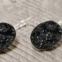 Druzy earrings-  Black drusy silver tone dangle druzy earrings