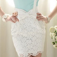 Bow Lace White Skirt