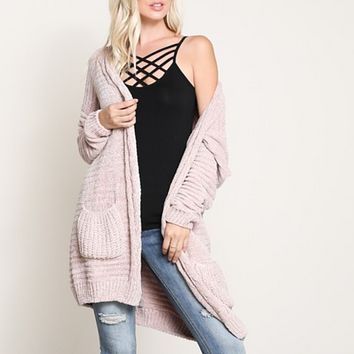 Textured Chenille Knit Shawl Cardigan in Twig