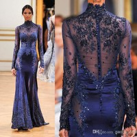 2016 Zuhair Murad High Neck Lace Formal Evening Dresses Long Sleeve See Through Beads Appliques Prom Celebrity Gowns Custom Navy Blue Evening Dress China Evening Dress Designer From Gaogao8899, $157.39| Dhgate.Com