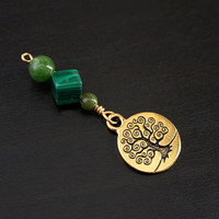 Jade Malachite Green Serpentine Sunny Tree of Life Blessingway bead - Blessing, baby shower gift, pregnancy gift, doula gift, green pendant