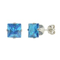 Blue Topaz CZ Square Studs December Birthstone Prong Earrings Sterling Silver
