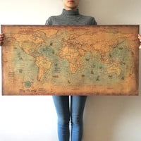 Vintage poster World Map Kraft Paper Paint Retro Wall Sticker Living Room Art Crafts Maps bar cafe Pub Home Decor 100x50cm