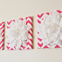 """Hot Pink and White Wall Art -SET OF THREE White Dahlias on Candy Pink and White Chevron 12 x12"""" Canvas Wall Art- Home Decor"""