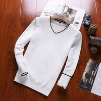 Knit Tops Round-neck Stripes Men's Fashion Casual Bottoming Shirt Sweater [8971061379]