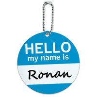 Ronan Hello My Name Is Round ID Card Luggage Tag
