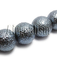 10mm Grey Frosted Beads, 20 PCS
