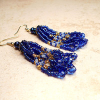 Blue and Gold Color Tassel Earrings Seed Bead Beadwork with Faceted Crystal Beads Boho Womens Gift Long Beaded Retro Style Ladies Dangle