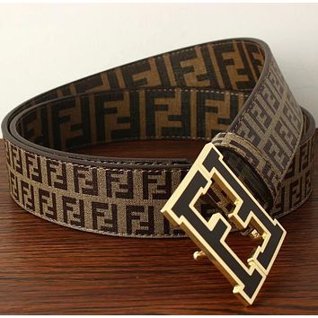 FENDI Woman Men Fashion Smooth Buckle Belt Leather Belt-3