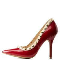Dark Red Studded Pointed Toe Pumps by Charlotte Russe