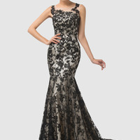 Black Sheer Sleeveless Lace Mermaid Evening Dress