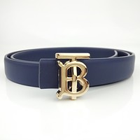 BURBERRY Fashion Women Men Smooth Buckle Belt Leather Waist Belt Blue