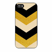 Chevron Classy Black And Gold Printed iPhone 5 Case
