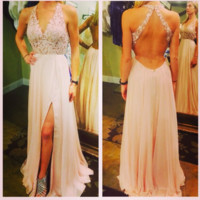 Light Pink Chiffon Prom Dress,Open Back Evening Dresses With Lace Applique