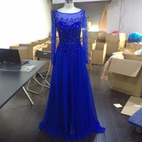 Sheer Full Sleeves Prom Dresses,Royal Blue Floor Length Prom Dress,Evening Dresses