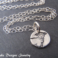 Little lamb necklace recycled silver lamb jewelry