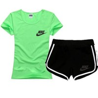 NIKE Women Men Fashion Print Cotton Sport Shirt Shorts Set Two-Piece Sportswear