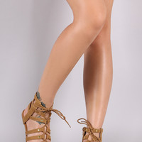 Qupid Nubuck Strappy Lace-Up Gladiator Flat Sandal