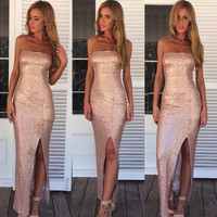 Sequins Long Formal Prom Dress Cocktail Party Gown Ball Evening Bridesmaid Dress
