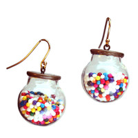 Cake sprinkle glass ball earrings with gold-plated earwires