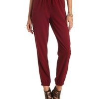 Solid High-Waisted Jogger Pants by Charlotte Russe - Wine