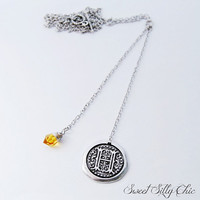Hufflepuff Monogram Lariat Necklace, Harry Potter Inspired Hufflepuff Long Necklace, Letter H, Topaz, Harry Potter Jewelry