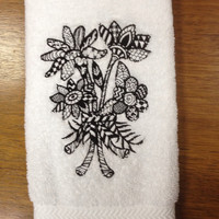 Beautiful Black and White Embroidered Flower Boutique Bathroom Towel