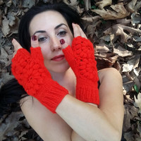 Red Knit Gloves, Gloves Crochet, Red Handmade Gloves, Fingerless Gloves, Knitted Gloves, Winter Glove, Hand Warmer, Women Glove, Arm Warmers