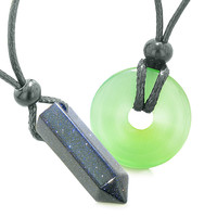 Yin Yang Powers His Hers Love Couples Crystal Point Lucky Donut Goldstone Green Cats Eye Amulet Necklaces