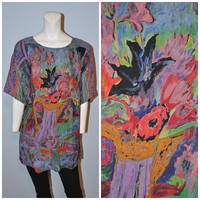 Vintage 1990's Carole Little Patterned Tunic Shift Dress Short Sleeve Size 4 Colorful Still-life Pattern Oversized Shirt Blouse Top Purple