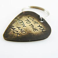 I Love You To The Moon And Back Hand Stamped Guitar Pick Keychain, Key chain, friend gift,  Key Ring, Personalized