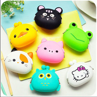 2016 New Fashion Lovely Kawaii Candy Color Cartoon Animal Women Girls Wallet Multicolor Jelly Silicone Coin Bag Purse Kid Gift