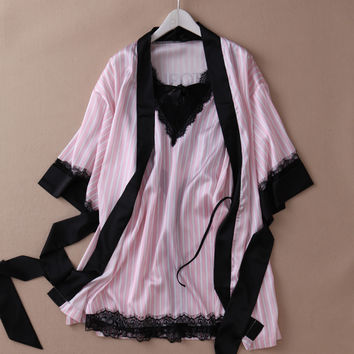 high quality   soft silk lace sexy nightgown summer nightdress pink casual sleepwear Sling Lingerie dress robe set