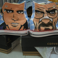 custom converse breaking bad Walter White and Jesse Pinkman handpainted shoes can do any theme you like