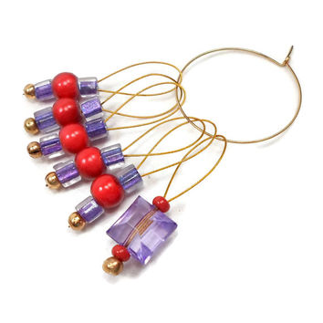 Red Purple Knitting Stitch Markers Beaded  Snagless Snag Free Knitting Markers
