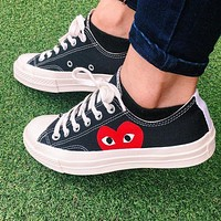 """Converse"" Play Red Heart Fashion Canvas Flats Sneakers Sport Shoes Low Tops Black"