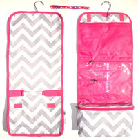 Gray Chevron with Pink Trim Hanging Toiletry Cosmetic Packing Organizer Case by TravelNut® Popular High School College Nurse Graduation Gift Idea